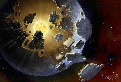 Artist's Conception of a hypothetical Dyson Sphere disintegrating around KIC 8462852.  Credit:  Danielle Futselaar, SETI International
